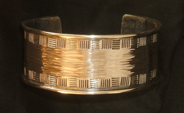 Sterling silver large hammered cuff bracelet 01 c MHD